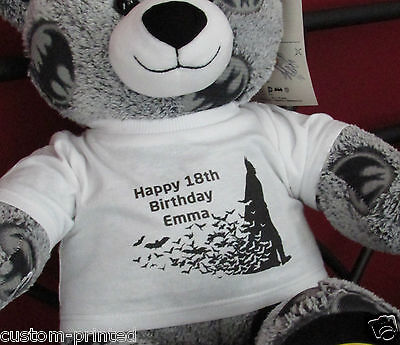 personalised printed photo teddy bear t-shirt white Large text fits build a bear