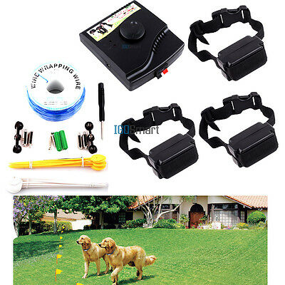 Waterproof 3 Shock Collars In-Ground Dog PET Electronic Fence Containment System