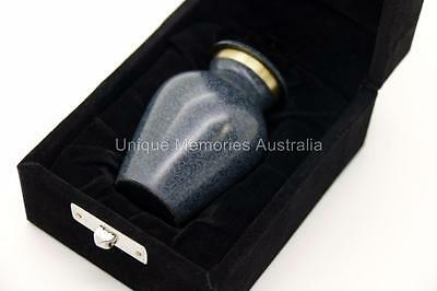"3"" Solid Brass Manus Granite Style Cremation Memorial Keepsake Ashes Urn + Case"