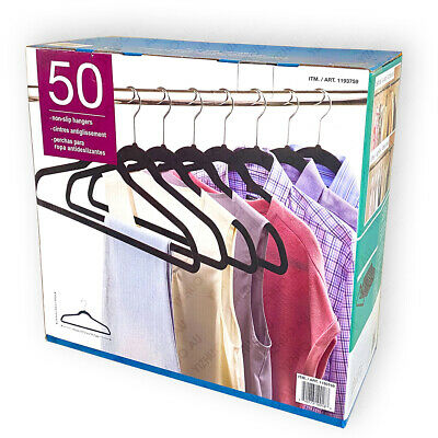 50 Velvet Clothes/Coat Hangers Non Slip Ultra Thin Black New
