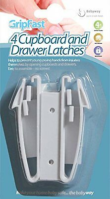 Babyway Gripfast 4 Cupboard & Drawer Safety Latches Child Door Drawer Stoppers