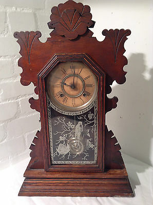 c1894 Antique ANSONIA Gingerbread Kitchen Mantel Shelf Clock - JPS