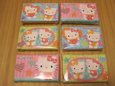 Hello Kitty Facial Pocket Tissue, Cute Dissolve in Water, 6 packs, Made in Japan
