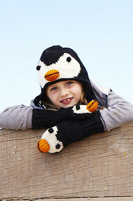 Penguin Animal Hat / Mittens - HANDMADE by Pachamama - one size (3-7 years)