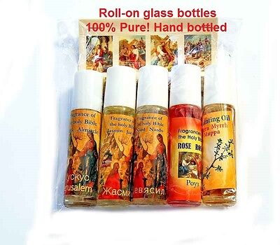 Set of 5 blessed roll on anointing oils from the holy sepulchre Jerusalem lot