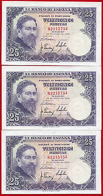 3 1954 SPAIN 25 Pesetas Notes 147a UNC Sequential Serial Number Set