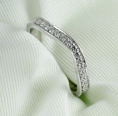 Curved Diamond Wedding Ring band 0.25 Carat Round Cut 14k White Gold Jewelry