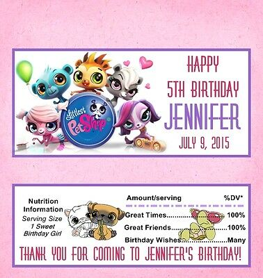 25 Personalized Littlest Pet Shop Birthday Candy Bar Wrappers