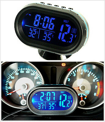 Blue LED Digital Car Clock & Date Indoor Outdoor Thermometer & Voltage Monitor