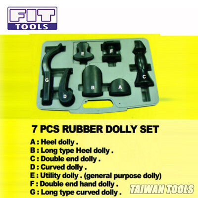 FIT TOOLS Taiwan 7 pcs Rubber Dolly for Metal Forming Car Body Recovery/Repair-