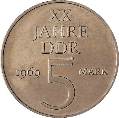 GDR 5 Mark 1969 DDR 20th Anniversary Brilliant Uncirculated Coin in Capsule