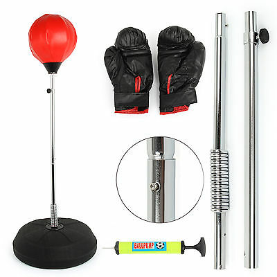 Standing Adjustable Adult Punch Bag Ball Set Includes Gloves Mitts Boxing Uk