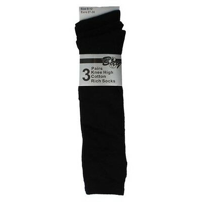 Girls Bay Knee High Cotton Rich Socks Pack of 3 Black 43B268
