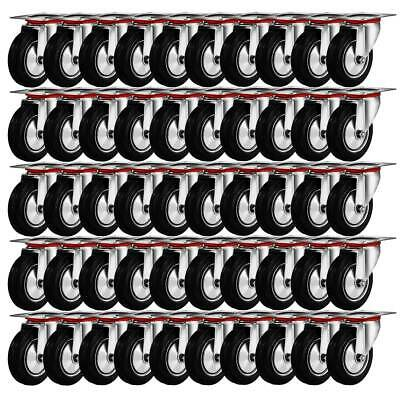 """50 Pack 3"""" Swivel Caster Wheels Rubber Base with Top Plate & Bearing Heavy Duty"""