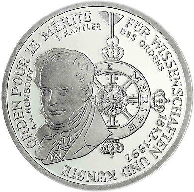 Germany 10 DM Silver 1992 brilliant uncirculated Order Pour le Merite in Capsule