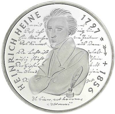 Germany 10 DM Silver 1997 Brilliant Uncirculated Heinrich Heine Coin in Capsule