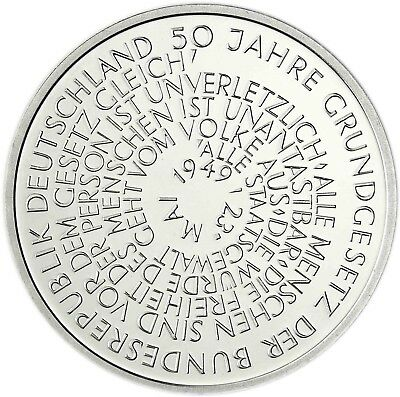 Germany 10 DM Silver 1999 Brilliant Uncirculated 50 years Basic Law in Capsule