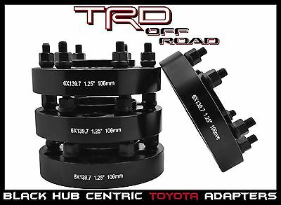 "4 Toyota 1.25"" Black Hub Centric Wheel Spacers 6x5.5 (6x139.7 MM) Tacoma 4Runner"
