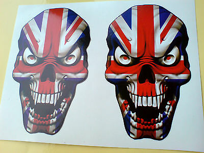 UNION JACK CHEQUERED FLAG SKULL STICKERS x2 170x110mm Car Motorbike Triumph