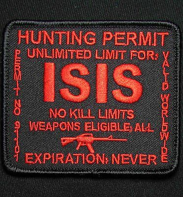 Isis Hunting Permit Army Usa Military Tactical Black Ops Red Hook Morale Patch