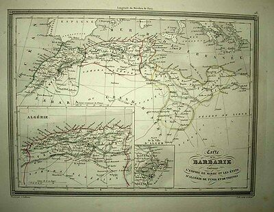 "1843 Vuillemin Map NORTH AFRICA ""Barbarie"" +Fine Inset Maps of Algeria & Algiers"