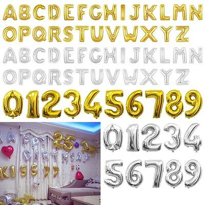 """16/40"""" Helium Foil Balloons Large Alphabet Letter Number Silver Gold Party Decor"""