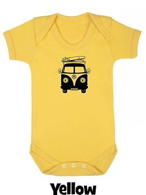 VW CAMPER van xmas Personalised Babygrow Boy Girl Clothes Gift Vest Cool Present
