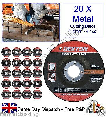 "20 X Angle Grinder Metal Cutting Discs 115mm 4½"" Steel Depressed 3mm Thickness"