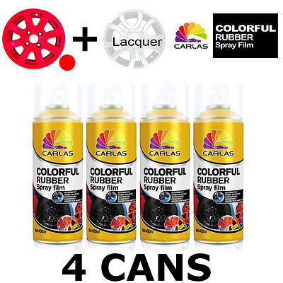Carlas 3 x RED + 1 x CLEAR LACQUER - Removable Rubber Spray Film For Alloy Wheel