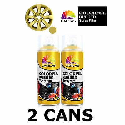 2 x Carlas GOLD Removable Rubber Spray Film for Alloy Wheels 400ml/can