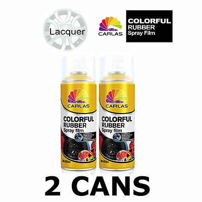 2 x Carlas CLEAR LACQUER Removable Rubber Spray Film for Alloy Wheels 400ml/can