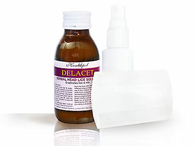 Delacet - All Natural Head Lice Solution with spray applicator and nit comb