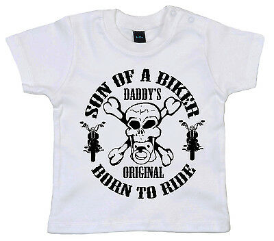 """Son of a Biker Born to Ride"" Baby Boy T-shirt Motorbike Sons Anarchy Skull"