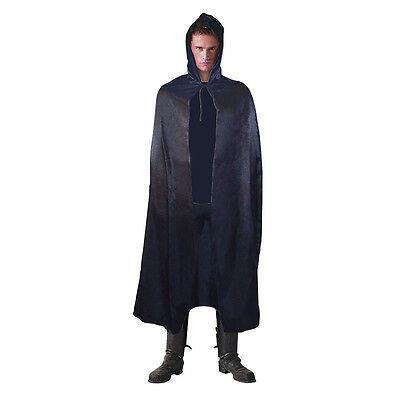 #Satin Hooded 142cm #Cloak Black Cape For Adult Halloween Costume Horror Party