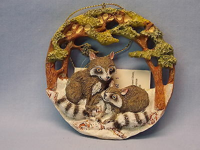 Racoon Family Forest Scene Round Resin Material Christmas Tree Ornament 3 1/2 In
