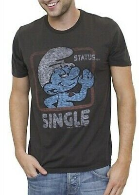 bfb938fb1 Junk Food TV Smurfs Status Single Vintage Inspired Adult Charcoal Black T- shirt