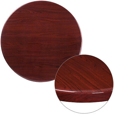 30'' Round Resin Restaurant Table Top in Mahogany Finish - Bar Table Top