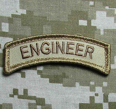 Engineer Tab Tactical Usa Army Desert Morale Badge Hook Patch