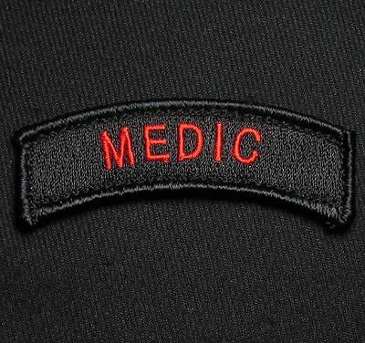 Medic Tab Tactical Usa Army Military Hook Black Ops Red Morale Badge Patch