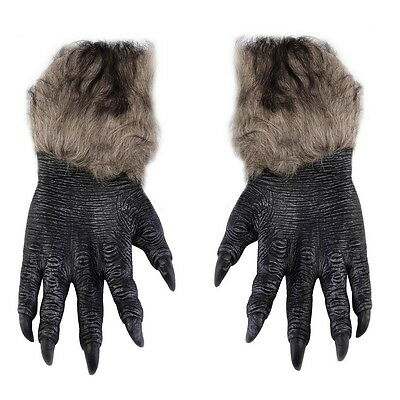 One Pair Halloween Werewolf Wolf Paws Claws Cosplay Gloves Creepy Costume OK