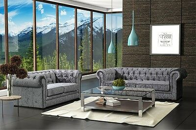 New Luxury Chesterfield 3 + 2 Seater Crushed Velvet Sofa Suite - Silver/Grey