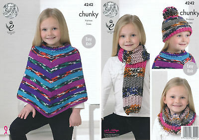 Girls Chunky Knitting Pattern King Cole Easy Knit Poncho Scarf Snood & Hat 4242