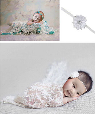 Newborn Baby Lace Cocoon Swaddle Wrap Blanket + Headband Photography Prop White