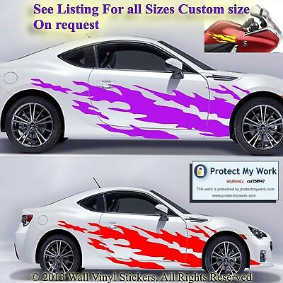 Car motorbike stickers graphic tribal flames vinyl decals van custom 2 x large