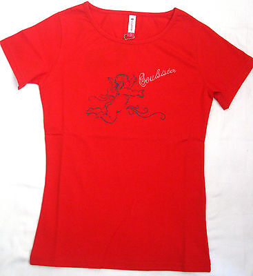 Soul Sister Girly T-Shirt Stretch Soulsister Shirt mit Stickerei rundhals rot 15