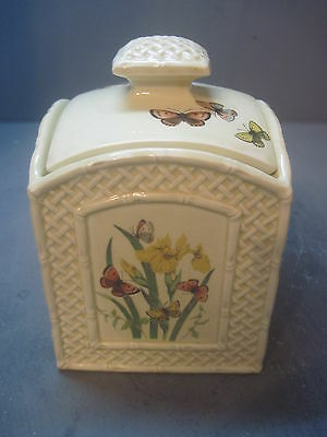 "ENESCO ""Butterfly Garden Trellis"" Ceramic Ware small  storage container w/ Lid"