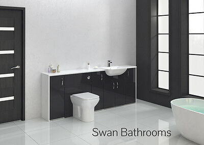 Anthracite Gloss Bathroom Fitted Furniture 2100Mm