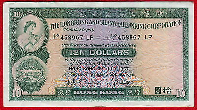 1967 HONG KONG 10 Dollar Note 182e XF