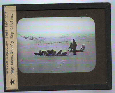 Lantern Slide Photo On Glass. Greely Expedition With Dog Team. Arctic Region.
