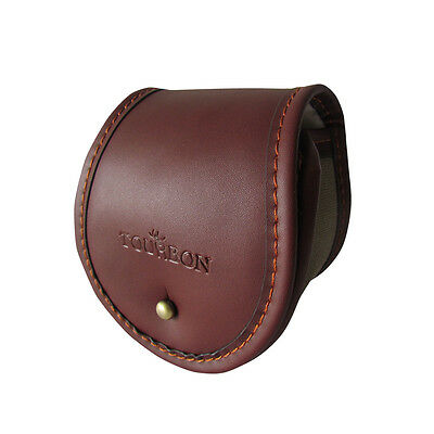 Tourbon Fishing Reel Case Carrier Thick Padded Fly Pouch Canvas & Leather S Size
